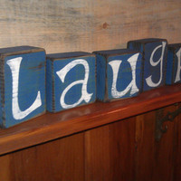 Laugh Distressed Primitive Block Set, Made to Order by RusticCharmDesign