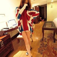 New Fashion Winter Knitted Loose Bat Dolmen Sleeves England British Flag Sweater | eBay