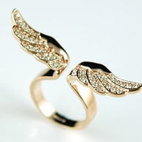 Angel Wing Rose Gold P Ring use Swarovski Crystal SR067 | eBay