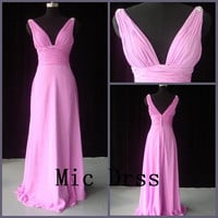 V-neck straps sleeveless floor-length pink chiffon crystal sashes pleated Prom /Evening/Party/Homecoming/cocktail /Bridesmaid/Formal Dress