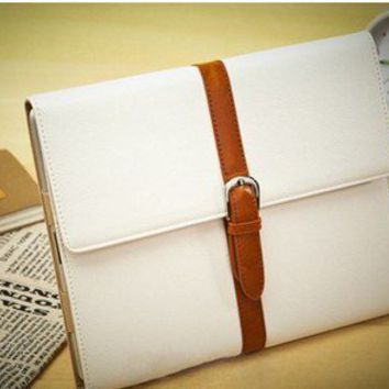 Magnetic Stand Leather Smart Cover Hard Case for New iPad 2 / 3 iPad2 White P171