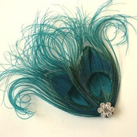 Feather Hairclip Teal Peacock Feather by LuLuIslandStudio on Etsy