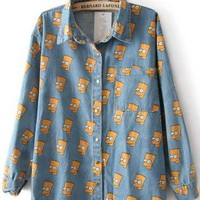 Light Blue Simpson Print Cartoon Denim Blouse S057