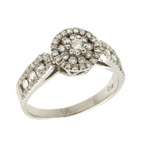 Antique Diamond Engagement Ring in 18k White Gold