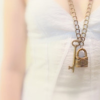 Vintage Lock and Key Necklace, Boho Chainmaille, Brass chunky Double Chain