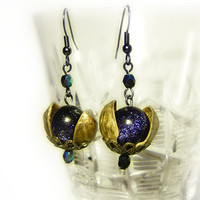 Universe in a nutshell earrings, with blue goldstone and pistachio shells
