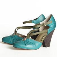 Seychelles Dolley Crisscross Strap Heels In Teal