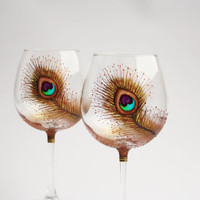Wine Glasses Baloon Hand Painted Peacock Design Copper Green Purple Turquoise