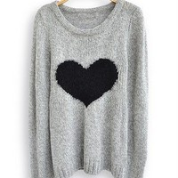 Light Grey Long Sleeve Love Heart S.. on Luulla