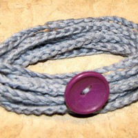 Crocheted wrap bracelet with purple button Handmade gift | UnusuallyYours - Jewelry on ArtFire