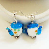 Multi Colored Lampworked Teapot Kids Earrings/ Tea Lovers Gift For Her Earrings