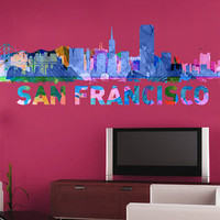 San Francisco skyline Watercolor, decal for housewares