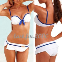 Fancy Womens Sexy Bikini 2 Pcs Sailor Bowknot Swimwear Swimming Swimsuit