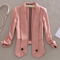 Celebrity Style Candy Color Lapel Womens Ladies Blazer Suit Coat Jacket Top SML