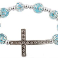 Blue Iced Out Sideways Cross Ornamental Style Beaded Stretch Bracelet