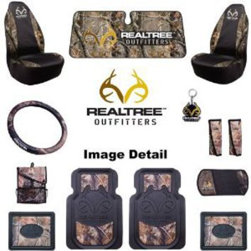 Realtree Outfitters Camo Car Truck SUV Front & Rear Floor Mats Seat Covers Steering Wheel Cover Key Chain Seat Belt Pads Litter Bag CD Visor Windshield Sunshade - Combo Kit Gift Set - 13PC : Amazon.com : Automotive