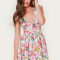 Brat Pack Ivory Cutout Floral Print Dress