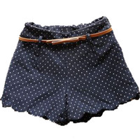 Navy Elasic Waist Polka Dot Zigzag Shorts - Sheinside.com