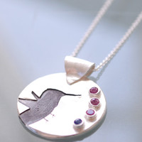 HUMMINGBIRD necklace, personalized birthstone silver pendant, eco-friendly.  Handstamped and Handcrafted by Chocolate and Steel
