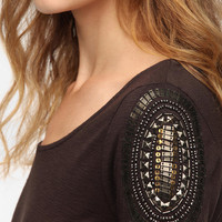 Urban Outfitters - Staring at Stars Embellished-Shoulder Top