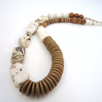 white statement necklace leather  necklace wood trade by BeaKez