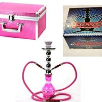 Amazon.com: VooDooTM! 18&quot; Premium Diamond Design 2 Hose Glass Hookah with Travel Case (Pink): Health &amp; Personal Care
