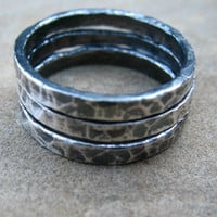 Silver Stacking Rings Set of Three Rustic Rings Fine Silver Size 6 1/2