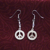 Petite Silver Peace Sign Earrings