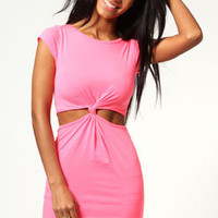 Allie neon knot front cap sleeve bodycon dress