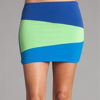 Blue/Lime Color Block Mini Skirt