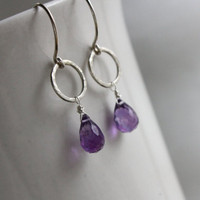 Faceted Amethyst Earrings - Argentium Silver Hoops - Birthstone Earrings