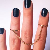 Above the Knuckle Chain Rings  gold filled thin chain by galisfly