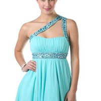 one shoulder iridescent stone short prom dress with high low skirt - debshops.com