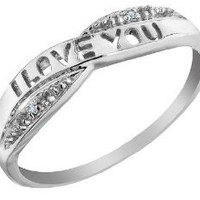 I Love You Diamond Promise Ring in 10K Gold: Jewelry: Amazon.com