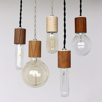 Wood veneered pendant light with bulb