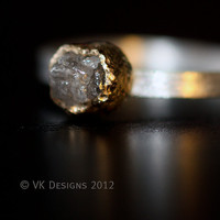 Hand Forged Rough Diamond 18k Gold Ring by valkasinskas on Etsy
