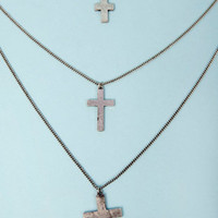 Three Tier Cross Necklace $15