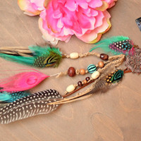 Gypsy Dream Catcher Long Feather earring/Clip-In Feather Hair Extension