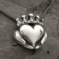 Claddagh Necklace Modern Celtic Silver by Ricksonjewellery
