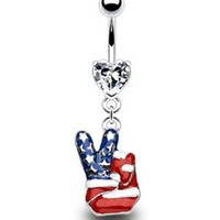 "14g Dangling American Flag Peace Sign Finger Sexy Belly Button Navel Ring Body Jewelry Piercing Dangle with Clear Cz Heart and Surgical Steel Bar 14 Gauge 3/8"" by 7Z ACC"
