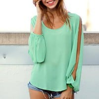 Mint Cutout Billow Sleeve Top with Cross Hatch Back Detail