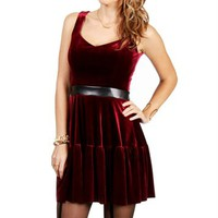 Julietta-Burgundy Velvet Dress