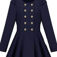 Gossip Girl Double Button Blue Coat S026