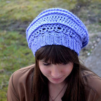 Purple Crocheted Slouch Hat