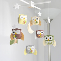 Baby Crib Mobile Baby Mobile Owl Baby Mobile by LoveFeltXoXo