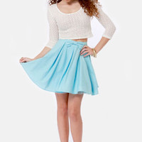 The Going Gets Puffed Sky Blue Mini Skirt