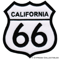 ROUTE 66 CALIFORNIA iron-on MOTORCYCLE BIKER PATCH new ROAD SIGN embroidered