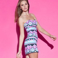 RARE NEW LIPSY AZTEC PRINT NEON STRIKING BODYCON DRESS