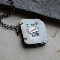 $142.00 Personalized Book Necklace Sterling Silver  A by moonovermaize