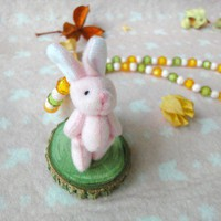 Girls Pink Rabbit Necklace Soft Toy Orange Beads Jewelry Children